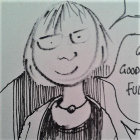 Cartoon drawing of Hilary